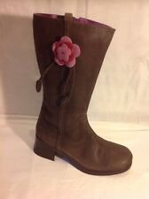 Bootleg Brown Mid Calf Leather Boots Size 5F