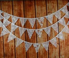 3.2M White Lace Bunting Flag Vintage Rustic Wedding Party Christening - 12 Flags