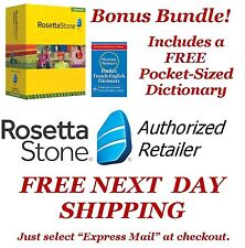 Rosetta Stone French 1 2 3 4 5 Bonus Bundle Homeschool +Headset +Dictionary  NEW