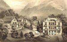 Pyrénées- André Gorse : Les CHALETS à LUCHON. Lithographie XIX°