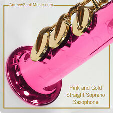 Straight Soprano Saxophone in Case - Hot Pink and Gold - Masterpiece