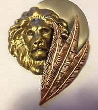 VINTAGE LION FACE WITH FEATHER' PINS WITH PERSONALITY' TRI-COLORED K&T BROOCH