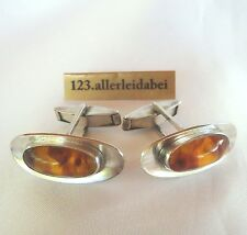 Bernstein Manschettenknöpfe 835 er Silber Fischmarke Ostsee Cufflinks / AK 345