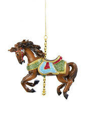 KURT S. ADLER RESIN TRADITIONAL BROWN CAROUSEL/DOBBY HORSE CHRISTMAS ORNAMENT