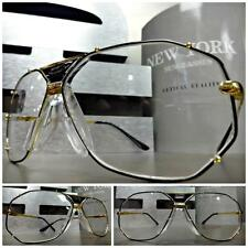 Men or Women RETRO AVIATOR Style Clear Lens EYE GLASSES Large Gold Fashion Frame
