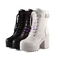 Chic Womens Ankle Boot High Heel Block Platform Chunky Lace Up Buckle Shoes Plus