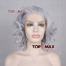 30cm Gray Curly Women Heat Resistant Hair Lace Front Wig + Free Wig Cap