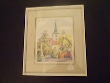 ORIGINAL WATERCOLOUR ST MARY'S CHURCH TYPICAL ENGLISH COUNTRY VILLAGE LOOK