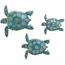 Sea Turtle metal wall art yard and garden home decor set of three