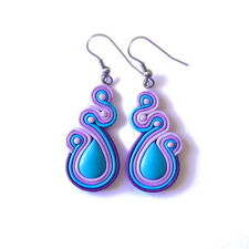 Blue Turquoise and Violet Purple Lilac Lavender Decorative Statement Earrings