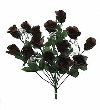14 Long Stem Roses ~ CHOCOLATE DARK BROWN ~ Silk Wedding Flowers Centerpieces