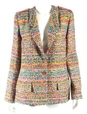 CHANEL 16C Paris-Seoul Multi-Color Fantasy Tweed Logo Button Jacket 46 NEW