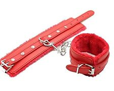 Red Genuine Leather & Fur Leg/Ankle Handcuffs with Metal Chain