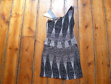 BNWT KATE MOSS BLACK/WHITE 1 SHOULDER BEADED DRESS 8 TOPSHOP