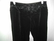 WOMENS JUNIORS NEW BLACK ILLIG VELVET HIPPIE CLUB BELL BOTTOM PANTS SIZE 1 30X32