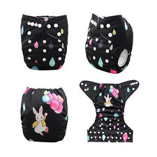 AlvaBaby  Print Washable Adjustable Reusable Cloth Diaper Nappy+1Insert Rabbit