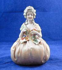 Antique Porcelain Half Doll Victorian Style in Original Pin Cushion Hands Away