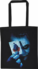 THE JOKER BLACK COTTON TOTE SHOPPER BAG HEATH LEDGER BATMAN GOTH CARD