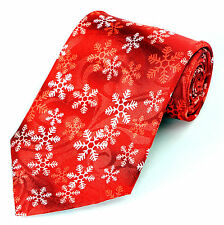 Holiday Snowflake Mens Necktie Christmas Winter Snow Weather Red Neck Tie New