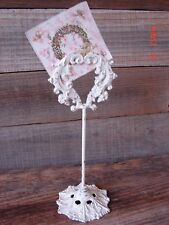 TABLE PLACE CARD RESERVATION HOLDER ELEGANT METAL UPCYCLED SHABBY CHIC WHITE