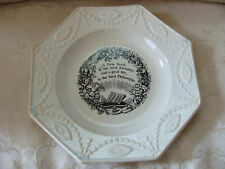 """Antique 1840's Staffordshire Maxim Plate """"A Firm Faith is the Best Divinity"""" 7.5"""