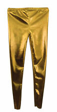 Kids LADIES WOMEN'S GIRLS Disco  Metallic  Shiny Pants Dance  Leggings Footless