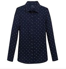 Tommy Hilfiger Women Shirt Navy Blue Polka Dot XS NWT
