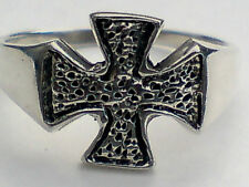 INDIAN SOLID STERLING SILVER INDIAN 15mm. BAND RING with CROSS DESIGN £18.95 NWT