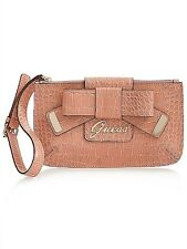 NEW GUESS PINK LULIN BOW CLUTCH WRISTLET PURSE PARTY BAG