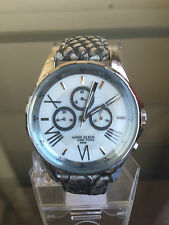 NIB ANNE KLEIN New York Silvertone Multifunction Grey Leather Swiss Ladies Watch
