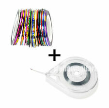 NEW 30 Striping tape Line Nail Art Decoration Tip Sticker Colors+1pc holder case