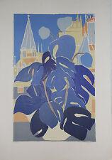 """""""Intérieur bleu"""" Lithographie signée Renée HALPERN"""