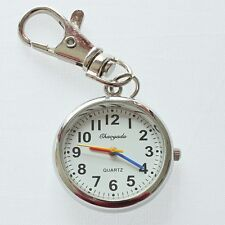 Brand New Fashion Round Silver Keychain Key Ring Pendant Pocket Watch GL48