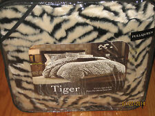 3pc Set TIGER/ZEBRA Black/White FULL/QUEEN Faux Fur Duvet Cover & Pillow Shams