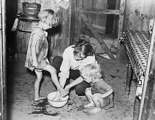 Mother Washing Daughters PHOTO 1938 Great Depression Missouri Farmers Shack