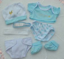 """PJs ❤️ BLUE CUPCAKE ❤️ NAPPY HAT BOOTIES TOP PANTS LAYETTE FOR 14"""" BABY DOLL NEW"""