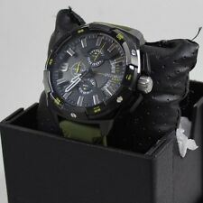 NEW AUTHENTIC DIESEL HEAVYWEIGHT IP BLACK GREEN SILICONE MEN'S DZ4396 WATCH
