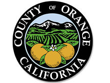 4x4 inch Round ORANGE COUNTY California Seal Sticker  - decal ca the OC of logo