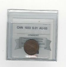 **1933**, Coin Mart Graded Canadian, Small One Cent, **AU-55**