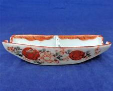 Antique Japanese Tashiro Porcelain Brush Washer & Rest Painted Boat Shaped 1900