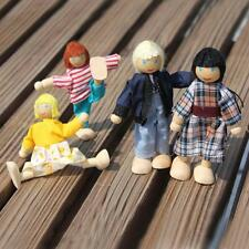 4 Cute Doll Wooden House Family People Set Kid Children Pretend Play Toy Gift G4