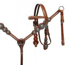 Showman PONY Leather Bridle & Breast Collar Set w/ BLUE Rhinestones!! NEW TACK!!