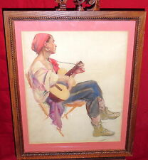 Framed Watercolor Painting - Gypsy Woman Playing Guitar - Crimmons