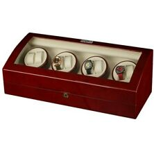 Watch Winder, Burgundy Wood Finish for 9 Watches with 9 Watch Storage Spaces