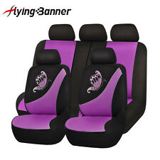 NEW Car Seat Covers set low back Universal Flying banner Breathable purp femal