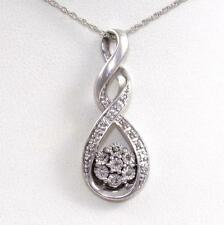 Sterling Silver Diamond Accent Modernist Infinity Cluster Pendant Necklace 18""