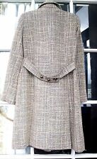 Pretty pale blue Tweed Coat SZ 8 UK flared, beige pale blue mix, back belt H&M