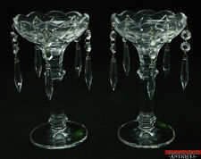 Shannon 24% Lead Crystal Candle Holders Made In Czech Republic 5 Prisms Each 8""
