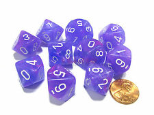 Set of 10 Chessex D10 Dice - Wild Purple with White Numbers