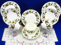 Royal Grafton WOODSIDE 3 Trios Cups, Saucers Tea Plates VINTAGE FINE BONE CHINA
